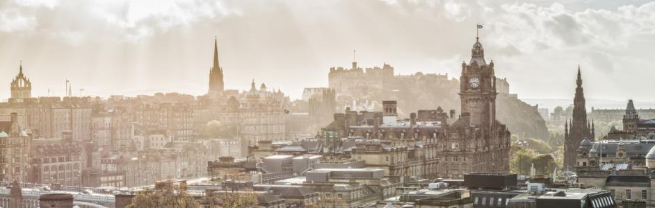 Edinburgh view from Calton Hill to Princes Street, Balmoral, Edinburgh, Scotland
