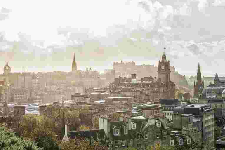 Edinburgh view from Calton Hill to Princes Street, Balmoral, Edinburgh, Scotland