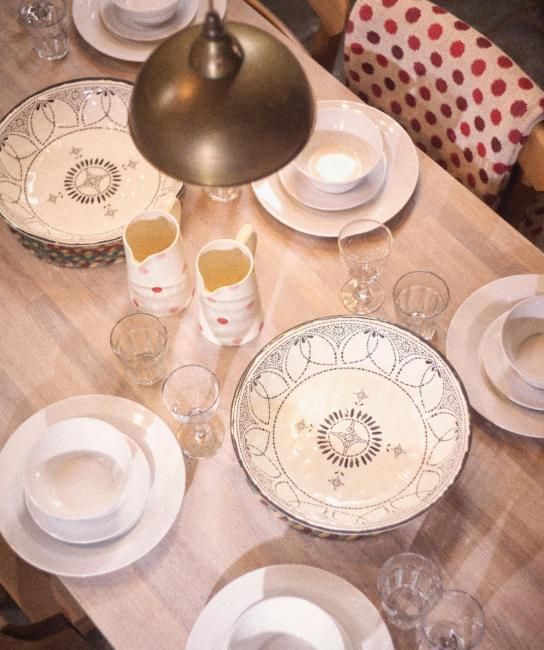 Country cottage dining, the farmhouse kitchen table set for a family feast, country living style, self catering parties near Edinburgh, Pentland Hills, Scotland
