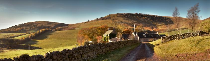 Scottish farm house in autumn, fall, Eastside farm steading, stone walls, farm near Edinburgh, Pentland Hills, autumn colour, heather hills, sheep farm