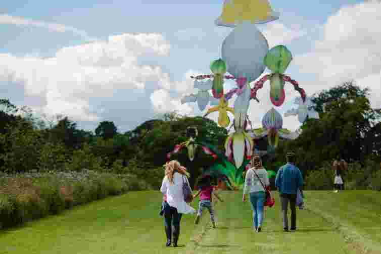Family at sculpture park, Edinburgh, Jupiter Artland, Marc Quin, orchid, art for children