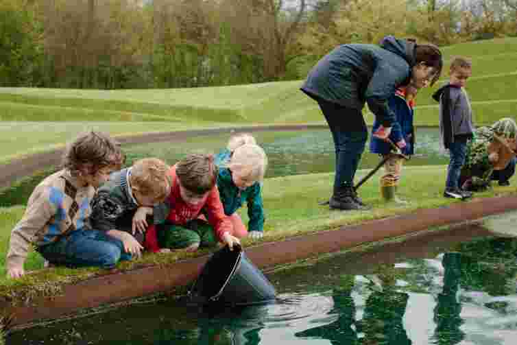 children fishing in pool, art projects, Jupiter Artland, children's activities Edinburgh, workshops
